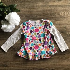 Jumping Beans shirt with colorful circles, size 5